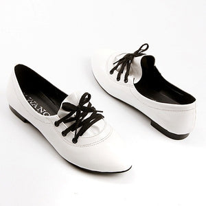 Patent Leather Lace Up Women Flat Shoes 9430
