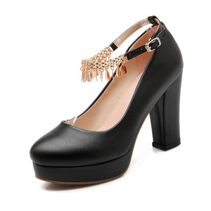 Women's Chunky Heel Pumps with Chains High Heels Dress Shoes