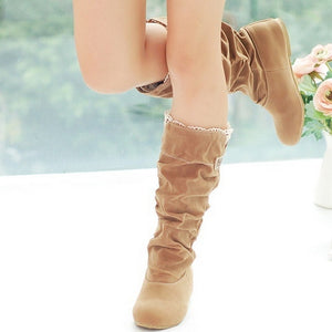 Artificial Suede Women Knee High Boots Wedges Shoes Woman 2016 3388