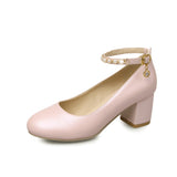 Pearl Womens High Heel Shoes Ankle Straps Pumps Party Dress Shoes