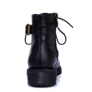 Black Ankle Boots Low Heeled Buckle Shoes Woman