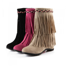 Load image into Gallery viewer, Tassel Wedges Boots Round Toe Platform Shoes Woman