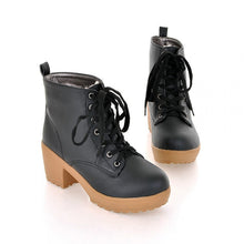 Load image into Gallery viewer, Lace Up Women Ankle Boots Round Toe Platform High Heels Shoes Woman 3364