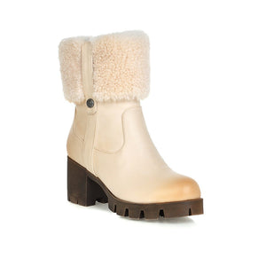 Lamb Wool Snow Boots High Heels Women Shoes Winter 7525