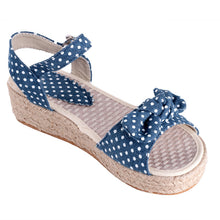 Load image into Gallery viewer, Polka Dot Platform Sandals Denim Ankle Straps Woven Wedges Shoes Woman