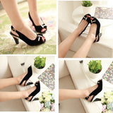 Peep Toes Bowtie Sandals Slingbacks Women Pumps High Heels Shoes Woman Black