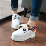 Women Platform Wedges Shoes Street Style High Heel Lace Up Loafers