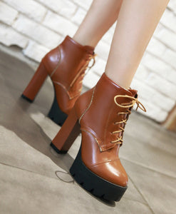 Ankle Boots for Women Platform High Heels Lace Up Pu Leather Autumn Winter Shoes Woman 9592