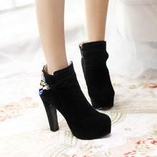 Load image into Gallery viewer, Women Mid Calf Boots Platform Black Rhinestone High Heels Shoes Woman 2016 3560