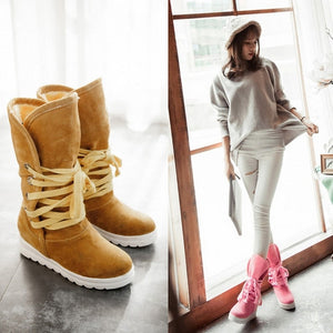 Warm Fur Lining Lace Up Women Snow Boots 7579