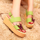 Butterfly Platform Sandals Buckle Wedges Shoes Woman