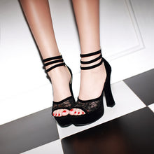 Load image into Gallery viewer, Ankle Straps Platform Sandals Women Pumps Lace High Heels Shoes Woman