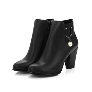 Pearl High Heels Ankle Boots Chunky Heel 6488
