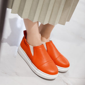 Women Flats Casual Shoes Black, White, Orange