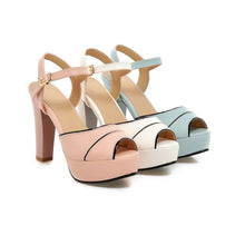 Load image into Gallery viewer, Ankle Straps Platform Sandals Peep Toes Women Pumps High Heels Shoes Woman