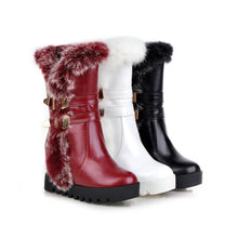 Load image into Gallery viewer, Rabbit Fur Wedges Boots Women Shoes Fall|Winter 3506