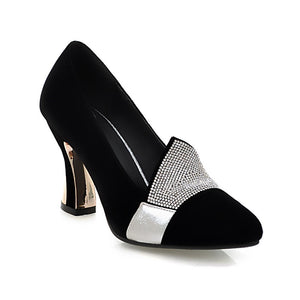 Pointed Toe Rhinestone Women Pumps High Heels Dress Shoes 9258