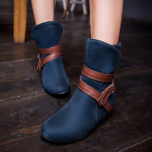 Buckle Ankle Boots Round Toe Shoes Woman