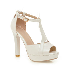 Women Sandals T Straps Cutout Pumps Platform High-heeled Shoes