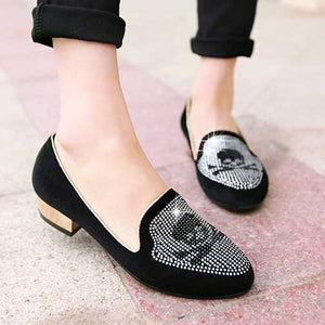 Rhinestone Pumps Low Heeled Shoes Woman