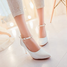 Load image into Gallery viewer, Studded Ankle Straps Women Pumps High Heels Spike Heel Dress Shoes Woman
