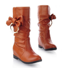 Load image into Gallery viewer, Bowtie Women Boots Soft Leather Wedges Shoes Woman 2016 3497