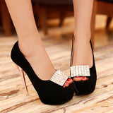 Rhinestone Women Platform Pumps High Heels Peep Toes Stiletto Wedding Shoes Woman