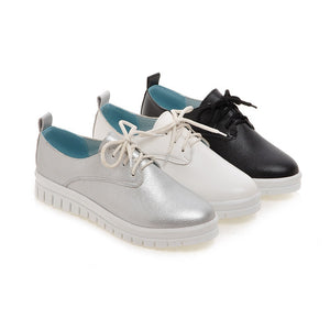 Lace Up Women Flats Casual Shoes