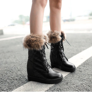 Fur Wedges Platform Boots Lace Up Winter Shoes Woman