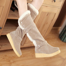 Load image into Gallery viewer, Buckle Women Knee High Boots Platform Wedges Lamb Wool Snow Boots Winter Shoes Woman 2016 3479