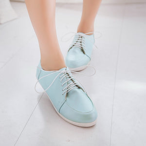 Round Toe Lace Up Flats Women Shoes 8440