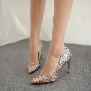 Glitter Women Pumps Pointed Toe Gradients High Heels Party Wedding Shoes Woman
