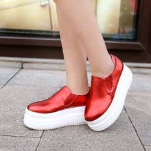 Load image into Gallery viewer, Round Toe Women Wedges Platform Shoes Loafers Gold, White, Red
