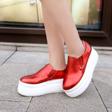 Round Toe Women Wedges Platform Shoes Loafers Gold, White, Red
