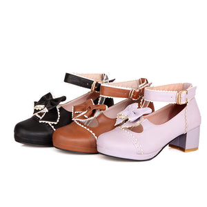 Bowtie Women Pumps Platform Round Toe Ankle Straps Shoes Woman