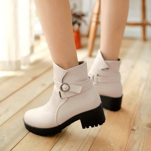 Buckle Ankle Boots Platform High Heels PU Leather Women Shoes