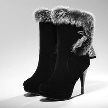 Load image into Gallery viewer, Rabbit Fur Women Platform Boots Black Winter High Heels Shoes Woman 2016 3498