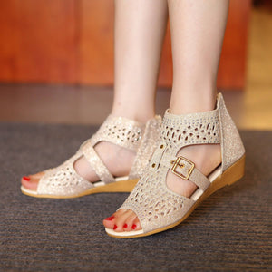 Wedges Sandals Women Buckle Rhinestone Shoes Woman 3444