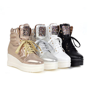 Sequined Ankle Boots Women Platform Shoes Fall|Winter 5695