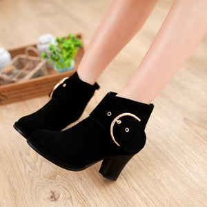 Buckle Ankle Boots High Heels Chunky Heel 6286