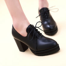 Load image into Gallery viewer, Pu Chunky Heel Pumps Platform High Heels Women Shoes 9716