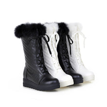 Load image into Gallery viewer, Fashion Women Ankle Boots for Autumn and Winter New Arrival Rabbit Fur Lace Up 1452
