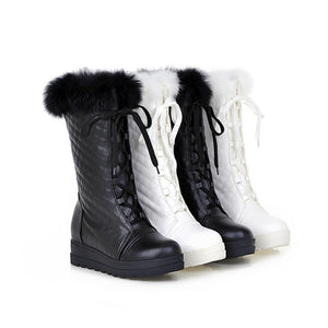 Fashion Women Ankle Boots for Autumn and Winter New Arrival Rabbit Fur Lace Up 1452