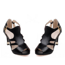 Load image into Gallery viewer, Peep Toe Covered T Strap High Heels Sandals Spike Heel 1140