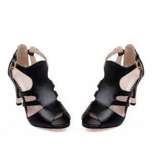 Peep Toe Covered T Strap High Heels Sandals Spike Heel 1140