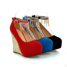 Load image into Gallery viewer, Rhinestone Women Wedges Ankle Straps Platform Shoes