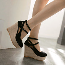 Load image into Gallery viewer, Women Wedges Ankle Wrap High Heels Platform Shoes 3529