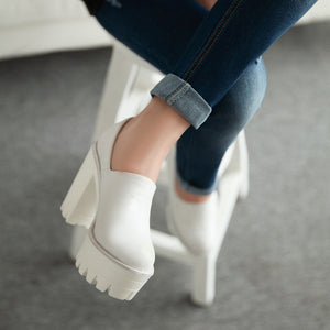 Chunky Heel Pumps Crack High Heels Platform Shoes Woman