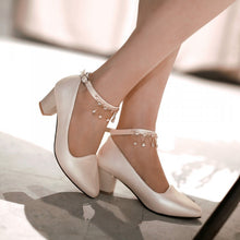 Load image into Gallery viewer, Women Pumps Ankle Straps Low Heeled Pointed Toe Rhinestone Shoes Woman 3531