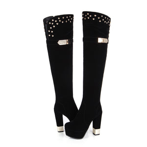 Black Women Over the Knee Boots Platform Zipper Rhinestone Studded High Heels Winter Shoes Woman 2016 3384